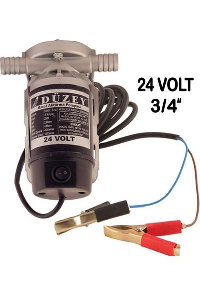 """Düzey 3/4""""-24 Volt Dıştan Çıkışlı Alüminyum Gövde Sıvı Transfer Pompası - Mazot Aktarma"""