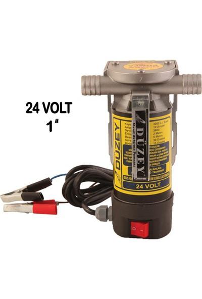 """Düzey 1""""-24 Volt Dıştan Çıkışlı Alüminyum Gövde Sıvı Transfer Pompası - Mazot Aktarma"""