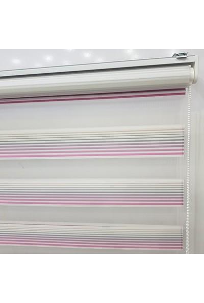 Dekoronyedi Pembe Renk Geçişli Zebra Perde Etek Oyması Hediyeli
