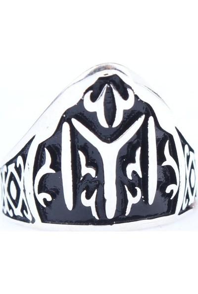 Nusret Takı 925 Ayar Gümüş Kayi Boyu Zihgir Okçu Erkek Yüzük