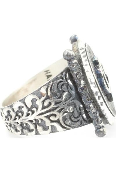 Nusret Takı 925 Ayar Gümüş Elif Vav Harfli - Ya Sabır Yazılı El Kalemli Erkek Yüzüğü