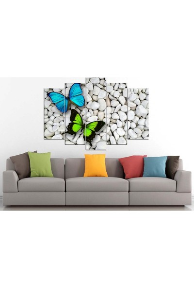 Sibiro Dekoratif MDF Tablo Yeşil Mavi Kelebekler 70 x 100 cm Azyct172