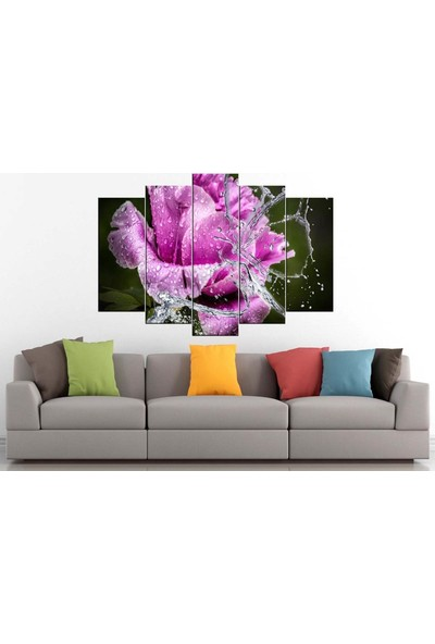 Sibiro Dekoratif Çiçek Konsept MDF Tablo Pembe Gül Ve Su 70 x 100 cm Azypl1