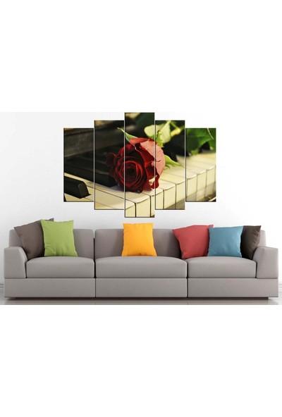 Sibiro Dekoratif Çiçek Konsept MDF Tablo Gül Ve Piyano 70 x 100 cm Azypl70