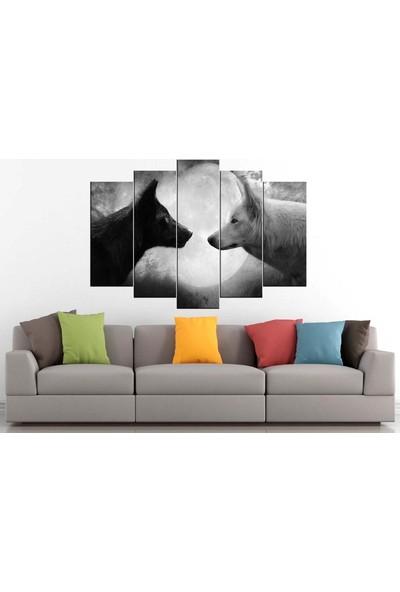 Sibiro Dekoratif MDF Tablo Beyaz Siyah Kurtlar 70 x 100 cm Azyzz238