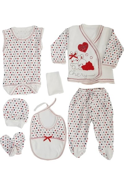 Webombinoo 7'li Kırmızı Kız Bebek Tavşanlı Hastane Çıkışı Seti