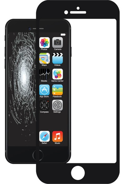 Justech By Corning iPhone 7/8 3D Cam Ekran Koruyucu Siyah