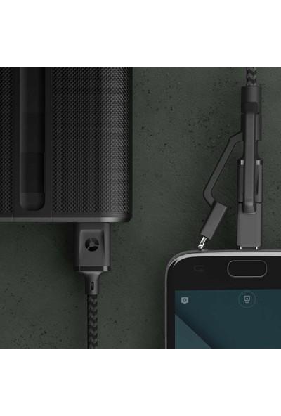 Case 4U 3in1 Lightning + Type-C + Micro USB to USB 2.0 Dayanıklı Naylon Örgü Data ve Şarj Kablosu 0.3m
