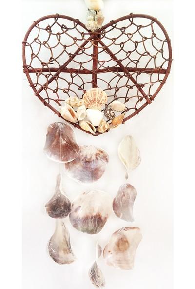 Turkuaz Doğal Deniz Kabuğu ile Tasarlanmış Ağaç Dallı Kalp Placuna Sarkaç 77 cm