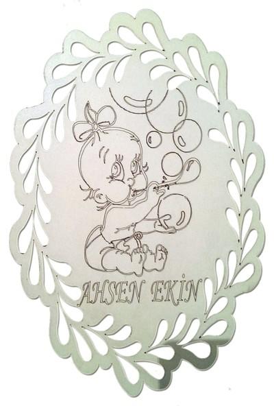 Lazeratölye Ahşap Bebek Kapı Süsü Beyaz