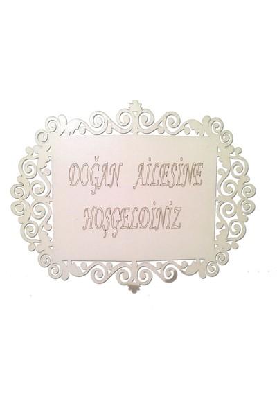 Lazeratölye Ahşap Kapı Süsü Beyaz