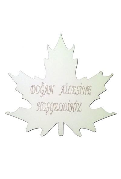 Lazeratölye Ahşap Kapı Süsü Yaprak Beyaz
