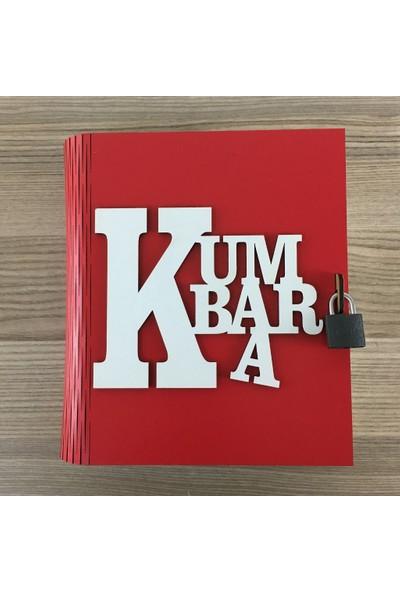 Hediye Mania Kitap Görünümlü Dekoratif Ahşap Kumbara Kırmızı