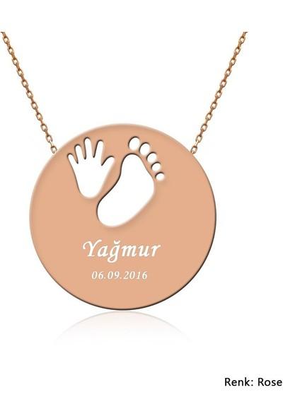 İndigo Takı Kişiye Özel İsimli Bebek El Ayak İzi Gümüş Kolye