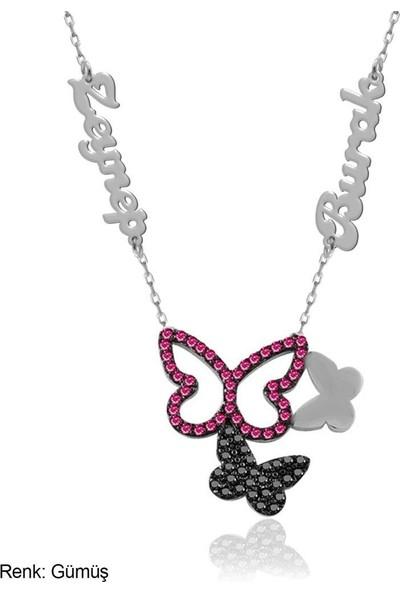 İndigo Takı Fuşya Kişiye Özel İsimli Üçlü Kelebek Gümüş Kolye
