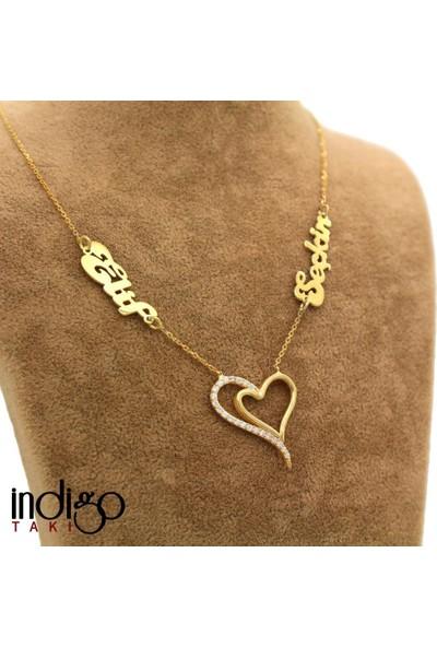 İndigo Takı İsimli Kişiye Özel İki Kalp Gümüş Kolye