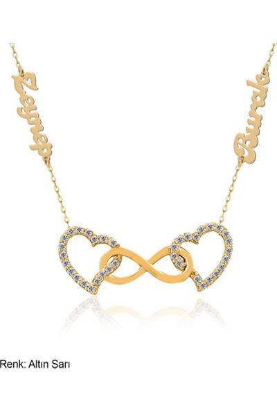 İndigo Takı İsimli Kişiye Özel Çift Kalp Sonsuzluk Gümüş Kolye