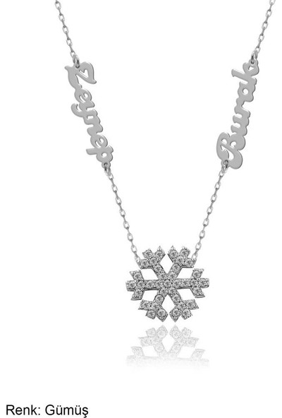 İndigo Takı İsimli Kişiye Özel Kar Tanesi Gümüş Kolye