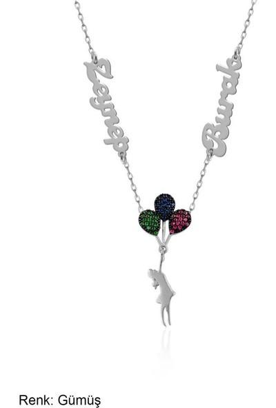 İndigo Takı İsimli Kişiye Özel Renkli Balonlu Kız Gümüş Kolye