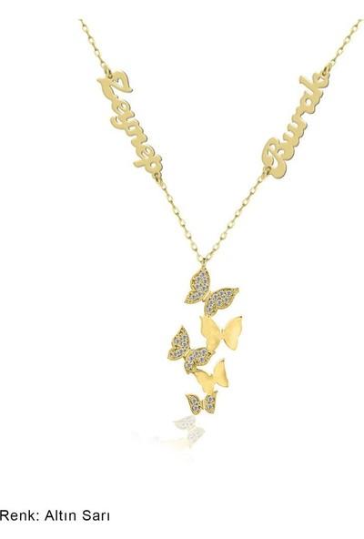İndigo Takı İsimli Kişiye Özel Beşli Kelebek Gümüş Kolye