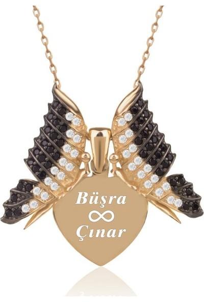 İndigo Takı Kişiye Özel İsimli Aşkın Kelebeği Altın Kaplama Gümüş Kolye