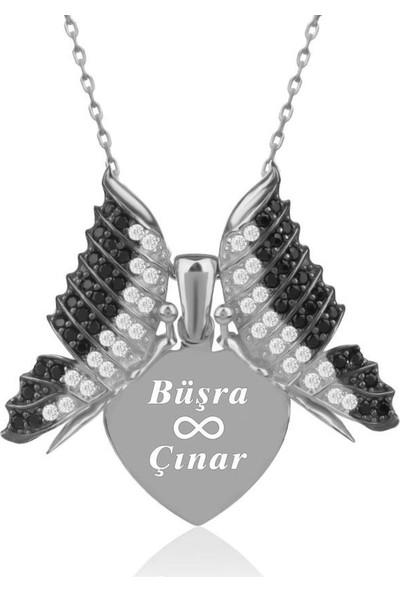 İndigo Takı Kişiye Özel İsimli Aşkın Kelebeği Beyaz Gümüş Kolye