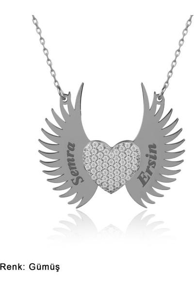 İndigo Takı İsimli Kişiye Özel Melek Kanadı Gümüş Kolye