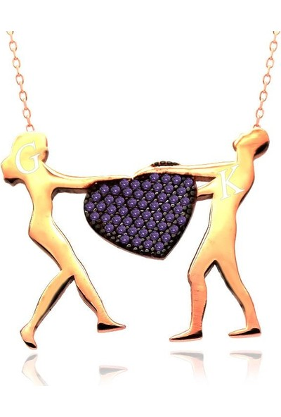 İndigo Takı Ametist Kişiye Özel Kalp Tutan Sevgililer Gümüş Kolye