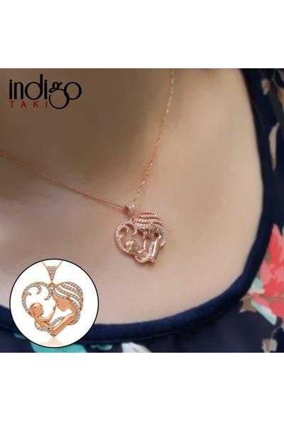 İndigo Takı Kalpli Anne Bebek Rose Gümüş Kolye