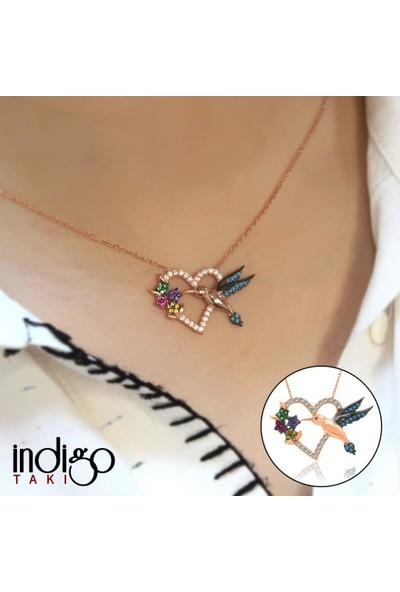 İndigo Takı Renkli Kalpli Arı Kuşu Rose Gümüş Kolye