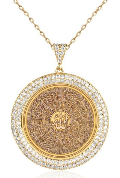 İndigo Takı Allahın 99 İsmi Altın Kaplama Gümüş Kolye
