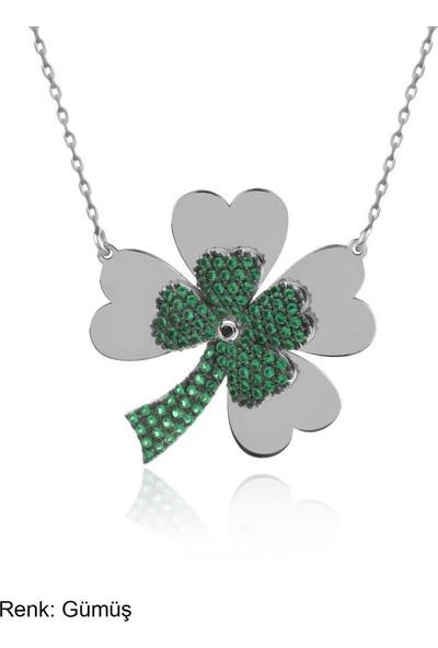 İndigo Takı Yeşil Taşlı Dört Yaprak Yonca Gümüş Kolye