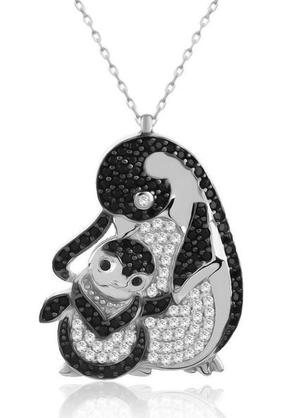 İndigo Takı Anne Bebek Penguen Gümüş Kolye