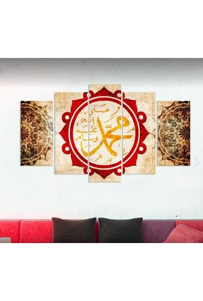Kanvas Burada DİN5-83 Hz.Muhammed Dini Dekoratif 5 Parçalı Kanvas Tablo - 120 x 60 cm