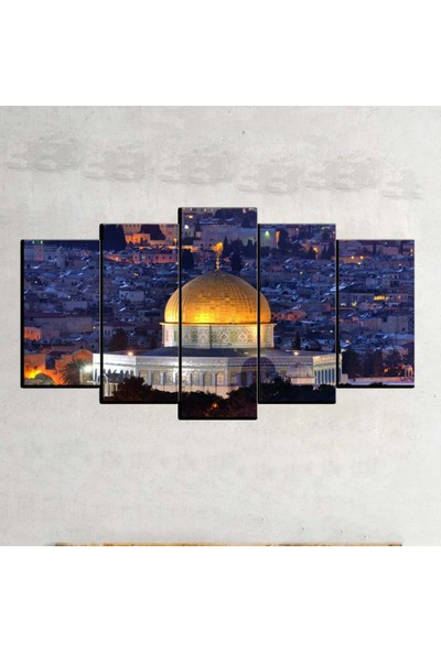 Kanvas Burada DİN5-58 Mescidi Aksa Dini Dekoratif 5 Parçalı Kanvas Tablo - 120 x 60 cm