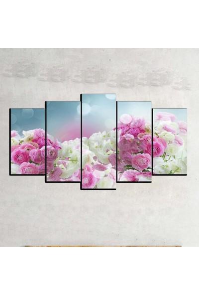 Kanvas Burada FLO5-41 Çiçek 5 Parçalı Dekoratif Kanvas Tablo - 120 x 60 cm