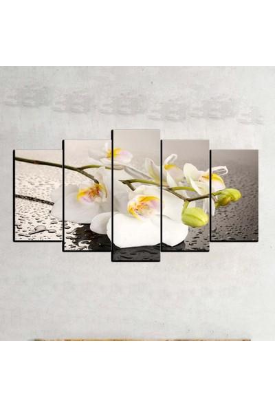 Kanvas Burada FLO5-104 Çiçek 5 Parçalı Dekoratif Kanvas Tablo - 120 x 60 cm