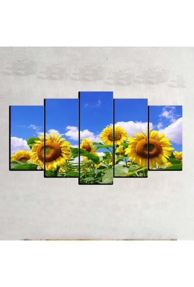 Kanvas Burada FLO5-107 Çiçek 5 Parçalı Dekoratif Kanvas Tablo - 120 x 60 cm