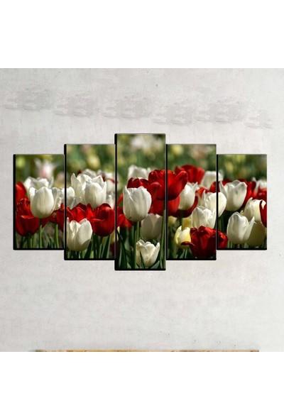 Kanvas Burada FLO5-392 Çiçek 5 Parçalı Dekoratif Kanvas Tablo - 120 x 60 cm