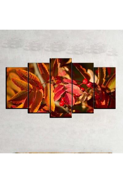 Kanvas Burada FLO5-434 Çiçek 5 Parçalı Dekoratif Kanvas Tablo - 120 x 60 cm