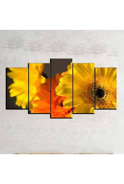 Kanvas Burada FLO5-514 Çiçek 5 Parçalı Dekoratif Kanvas Tablo - 120 x 60 cm