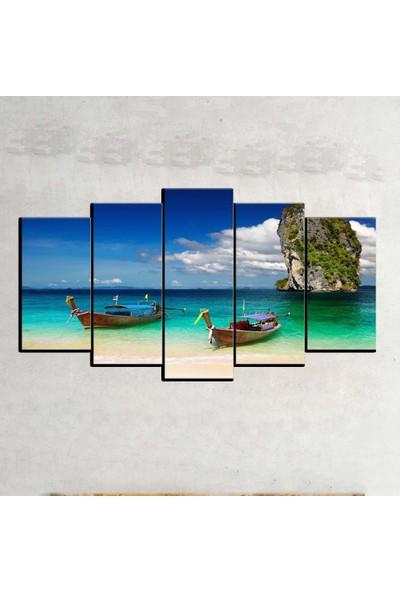 Kanvas Burada MNZ5-30 Manzara 5 Parçalı Kanvas Tablo - 120 x 60 cm
