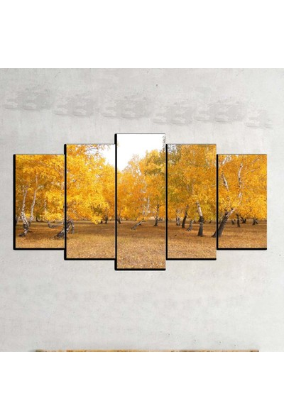 Kanvas Burada MNZ5-618 Manzara 5 Parçalı Kanvas Tablo - 150 x 75 cm