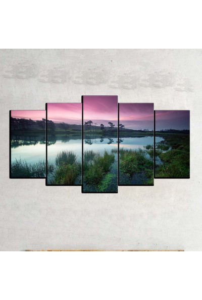 Kanvas Burada MNZ5-797 Manzara 5 Parçalı Kanvas Tablo - 120 x 60 cm