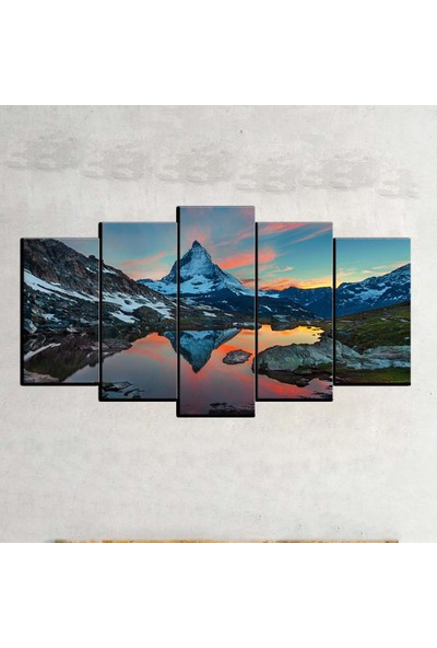 Kanvas Burada MNZ5-950 Manzara 5 Parçalı Kanvas Tablo - 150 x 75 cm