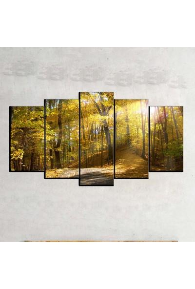 Kanvas Burada MNZ5-1403 Manzara 5 Parçalı Kanvas Tablo - 150 x 75 cm