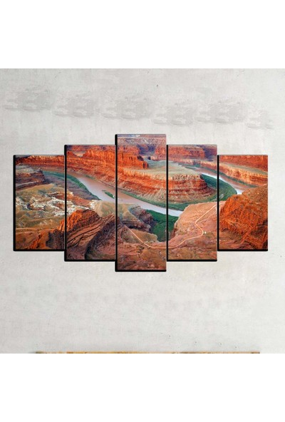 Kanvas Burada MNZ5-1423 Manzara 5 Parçalı Kanvas Tablo - 150 x 75 cm