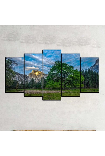 Kanvas Burada MNZ5-2433 Manzara 5 Parçalı Kanvas Tablo - 120 x 60 cm
