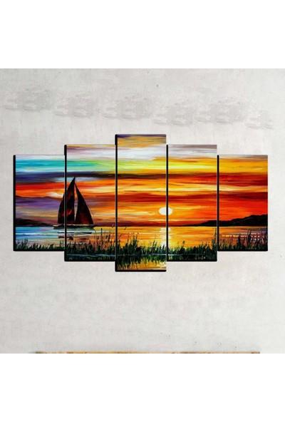 Kanvas Burada OİL5-1 Yağlıboya 5 Parçalı Kanvas Tablo - 120 x 60 cm
