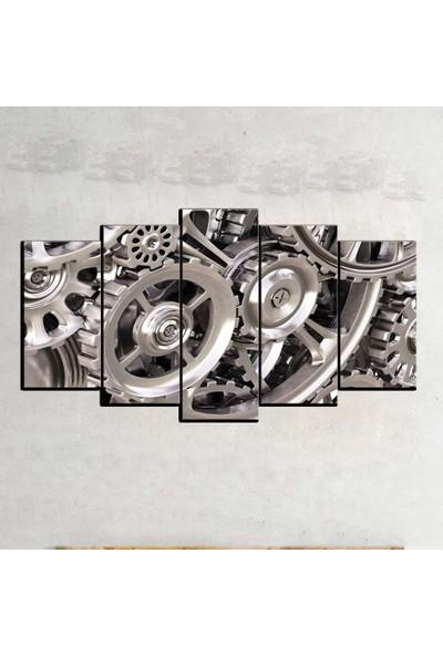 Kanvas Burada ABS5-295 Soyut 5 Parçalı Kanvas Tablo - 120 x 60 cm